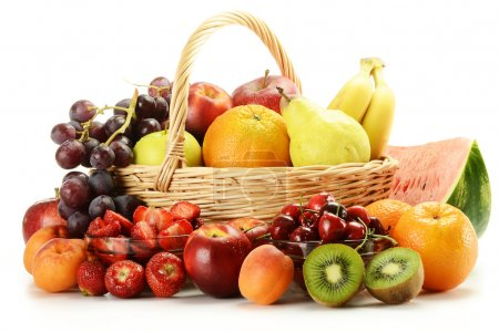 Photo for Composition with variety of fruits and wicker basket - Royalty Free Image