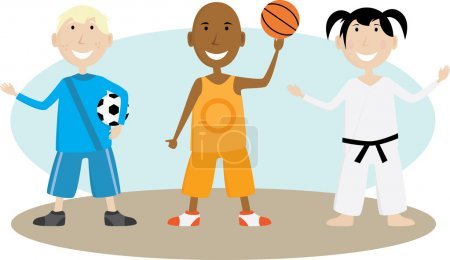 Illustration for Group of children enjoying various sporting activities - Royalty Free Image