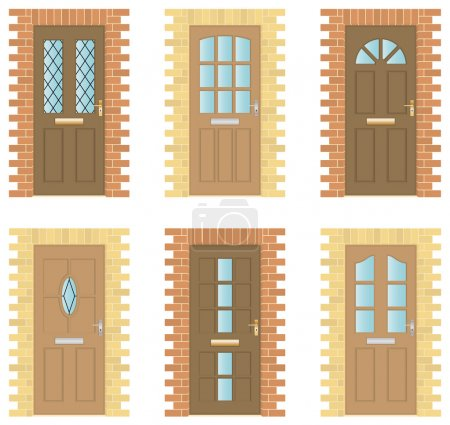 Illustration for Set of six exterior wooden doors with brick frames - Royalty Free Image