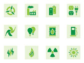 Set of green icons depicting energy and energy use