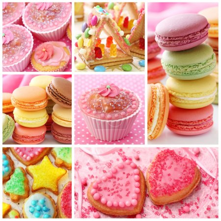 Photo for Colorful cakes collage - Royalty Free Image