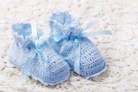 Handmade blue baby booties