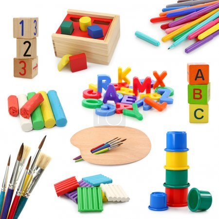 Photo for Preschool objects collection isolated on white background - Royalty Free Image