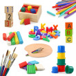 Preschool objects collection isolated on white bac...