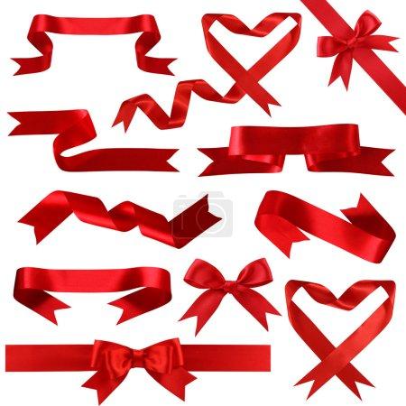 Photo pour Collection de bannières en soie rouge isolées sur fond blanc - image libre de droit