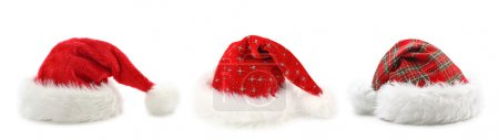 Photo for Santa Claus hats isolated on white background - Royalty Free Image