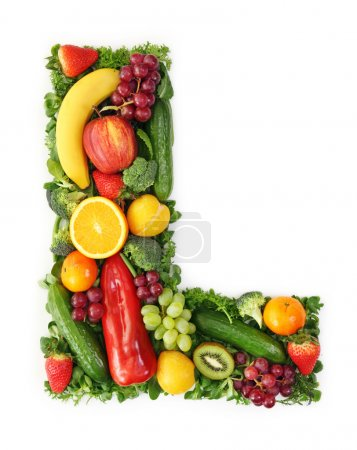 Photo pour Alphabet fruits et légumes - lettre L - image libre de droit