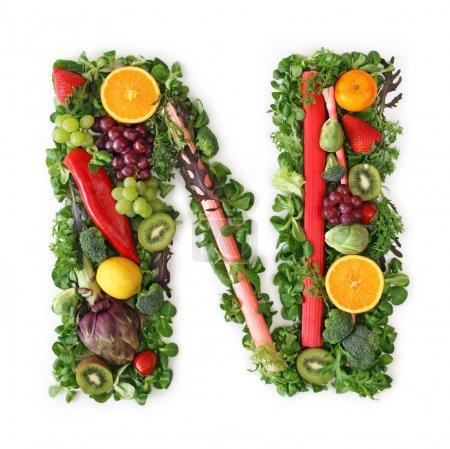 Foto de Alfabeto de fruta y verdura - letra n - Imagen libre de derechos