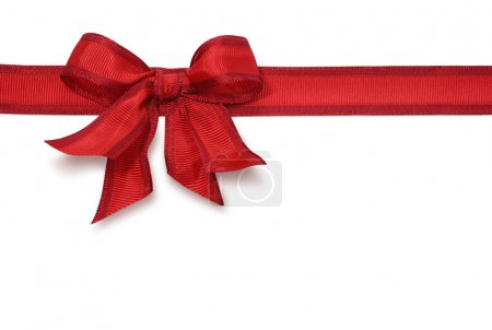 Photo for Red satin ribbon with bow isolated on white background - Royalty Free Image