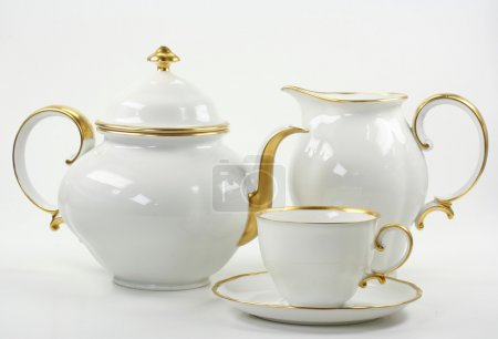 White tea service on white