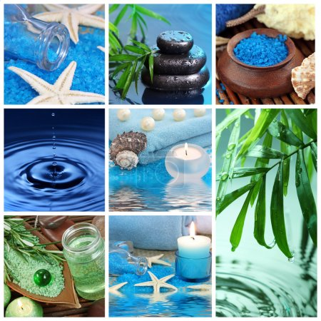 Photo pour Collage bleu spa - image libre de droit