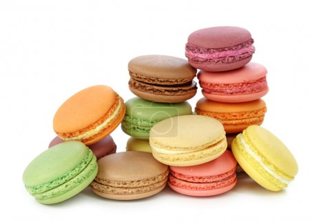 Photo for Colorful macaroons isolated on white background - Royalty Free Image