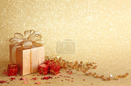 Photo for Christmas gift box on yellow background - Royalty Free Image