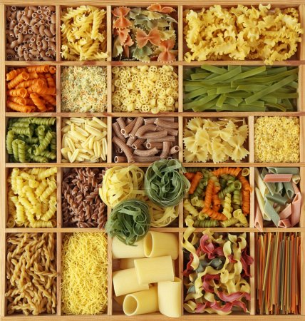 Photo for Italian pasta collection in wooden box - Royalty Free Image