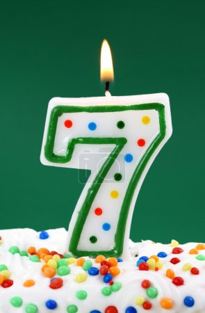 Number seven birthday candle