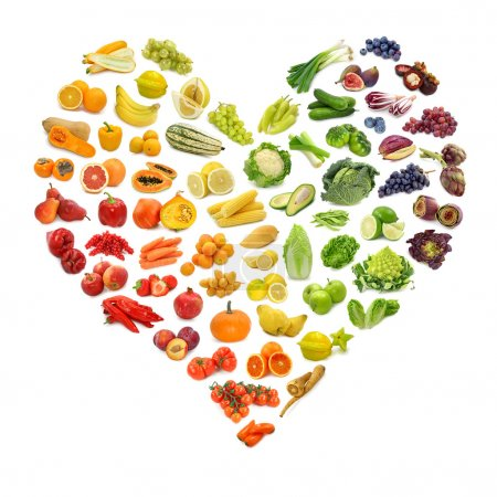 Rainbow heart of fruits and vegetables...