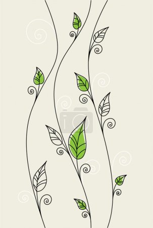 Illustration for Vector floral background with green leaves - Royalty Free Image