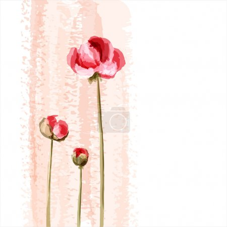 Photo for Abstract romantic vector background with peony - Royalty Free Image