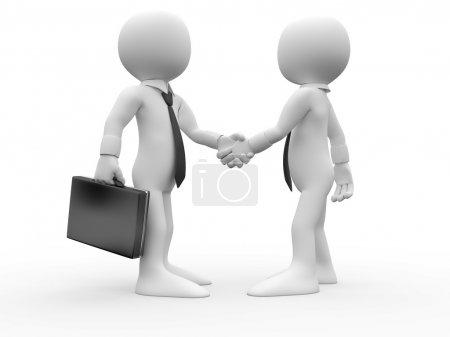 Photo pour 3D Human serrant la main en accord et sont parvenus à un accord commercial - image libre de droit
