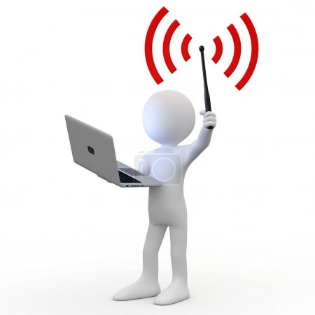 Man standing with laptop and wifi antenna