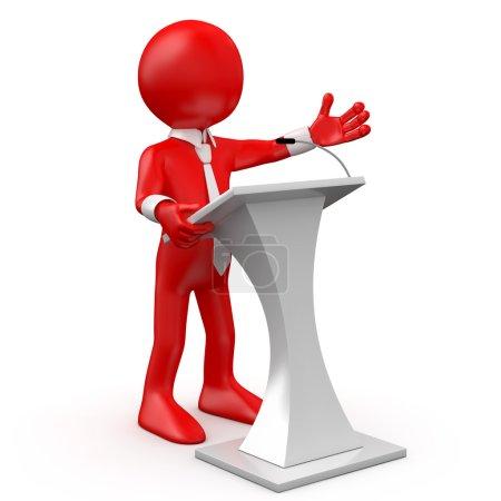 Photo pour Homme rouge parlant lors d'une conférence - image libre de droit