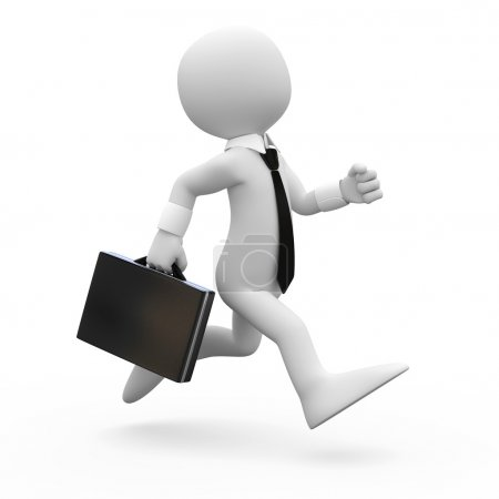 Photo for Man running with a briefcase in hand - Royalty Free Image