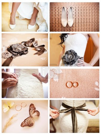 Collage of eight wedding photos