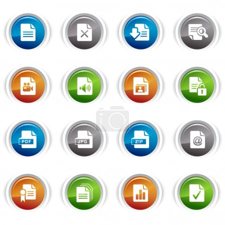 Illustration for Glossy Buttons - File format icons 01 - Royalty Free Image