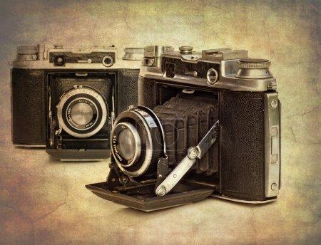 Photo pour Image texture abstraite de caméras vintage pour donner un aspect ancien - image libre de droit