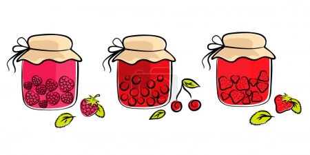 Illustration of jam jars collection...