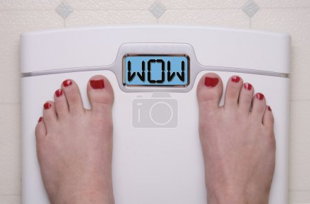 Photo for Digital Bathroom Scale Displaying OMG Message - Royalty Free Image