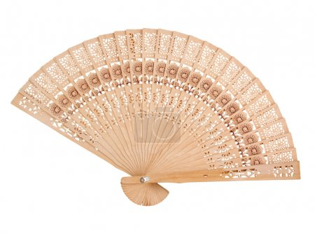 Photo for Wooden hand fan, isolated on white - Royalty Free Image