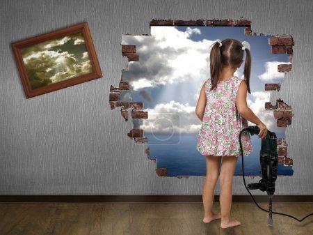 Child girl break the wall