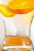Sliced orange fruits in detail
