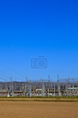 Electrical power plant in farmland area