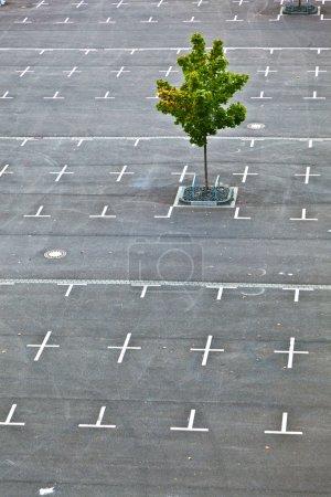Photo pour Parking balisé sans voitures avec croix - image libre de droit