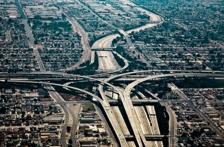 Photo for Landing at Los Angeles Airport with view to streets and huge crosing of freeway - Royalty Free Image