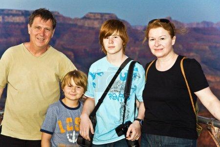 Family photo at south rim , Grand canyon f