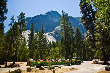 Tourists are discovering the romantic valley of yosemite park in a tourist