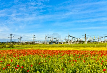 Power plant and distribution station in beautiful landscape