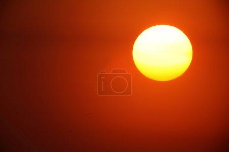 Photo pour Coucher du soleil avec un grand soleil jaune - image libre de droit