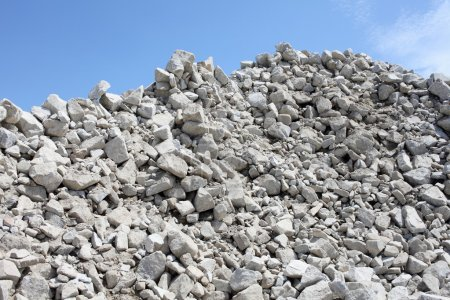 Gravel piles in a quarry