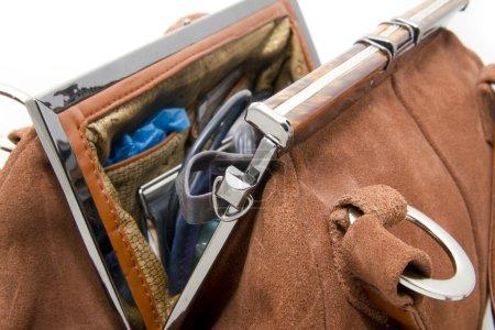 Ladies suede handbag