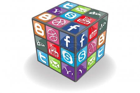 Illustration pour Cube de médias sociaux - image libre de droit