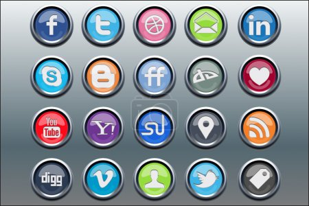 Illustration for 20 silver inset social media icons for your website or mobile device - Royalty Free Image