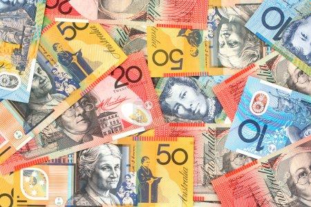 Full-frame of Australian fifty, twenty and ten dol...