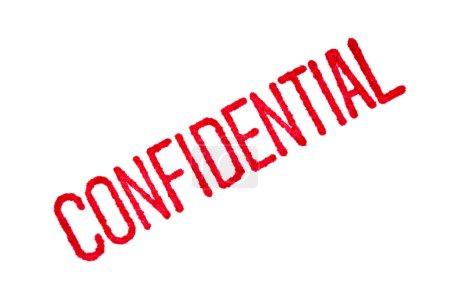 Photo pour Gros plan d'un cachet « confidentiel » rouge sur papier blanc, avec l'encre rouge un saignement dans le papier. - image libre de droit