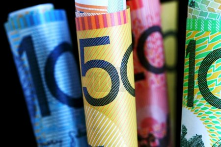 Australian notes, with black background. Shallow f...