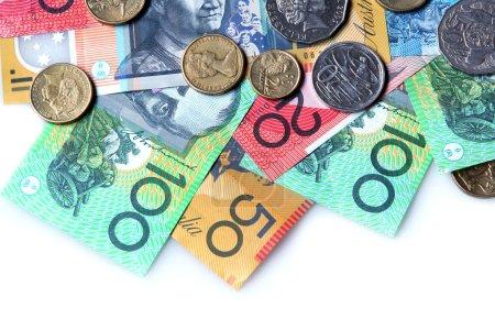 Australian money on white background....