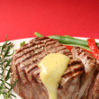 Thick filet mignon with bearnaise sauce, green bea...